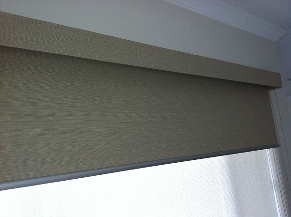 Pelmets Bonded Anodised Black White Fabric Wrapped Into